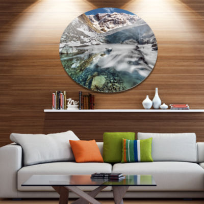 Design Art Cave in Rugged Rocky Setting LandscapeMetal Circle Wall Art