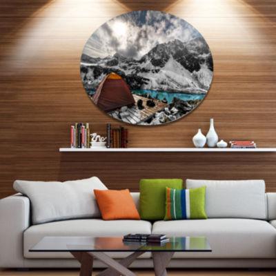Design Art Campsite above Turquoise Lake LandscapeMetal Circle Wall Art