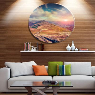 Design Art Amazing Autumn Landscape in Hills LargeLandscape Metal Circle Wall Art