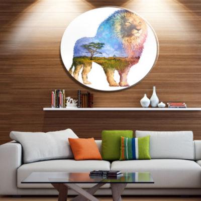 Design Art Lion Double Exposure Illustration LargeAnimal Metal Circle Wall Art