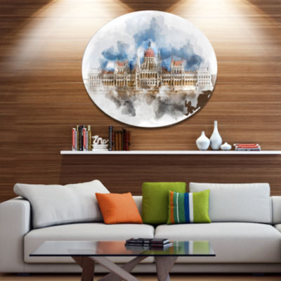 Design Art Hungarian Parliament Building Extra Large Metal Circle Wall Art