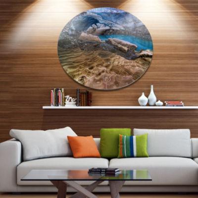 Design Art Brilliant Turquoise Melt Pool LandscapeMetal Circle Wall Art