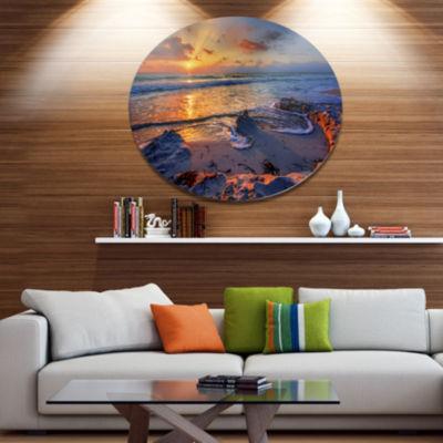 Design Art Beautiful Seashore with Yellow Sun Seashore Metal Circle Wall Art