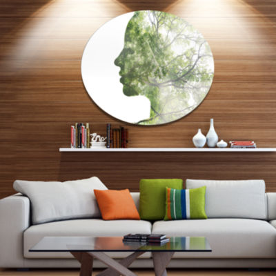 Design Art Lady Combined With Green Tree PortraitMetal Circle Wall Art