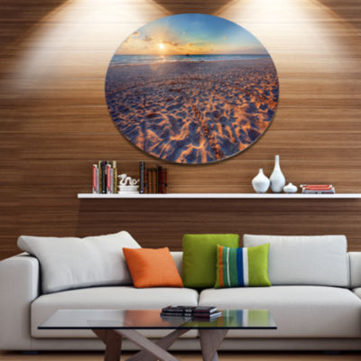 Design Art Trodden Sandy Beach at Sunset SeashoreMetal Circle Wall Art