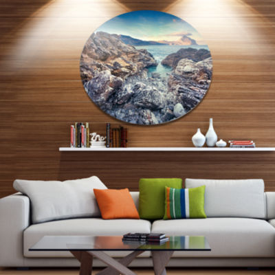 Design Art Rocky Reservoir in Monte Cofano Large Landscape Metal Circle Wall Art