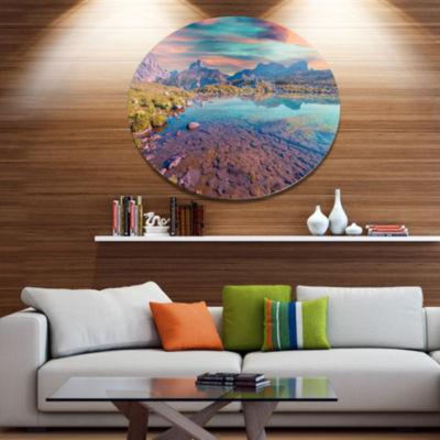 Design Art Beautiful Lake in Lago Rienza SeashoreMetal Circle Wall Art