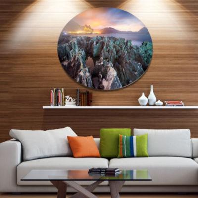 Design Art Beautiful Night View of Coast LandscapeMetal Circle Wall Art