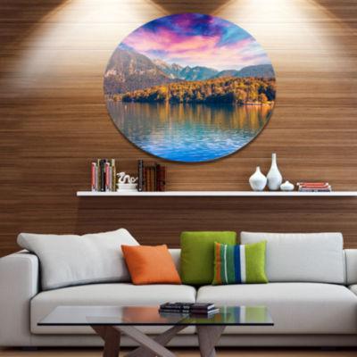 Design Art Bohinj Lake in Triglav National Park Landscape Metal Circle Wall Art