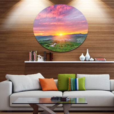Design Art Tuscany Sunrise with Pink Sky Large Landscape Metal Circle Wall Art