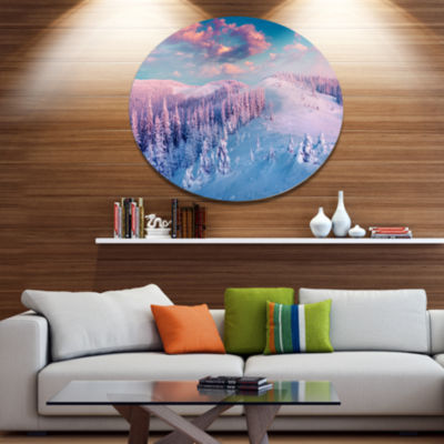 Design Art Fantastic Sunrise over the CarpathiansLarge Landscape Metal Circle Wall Art