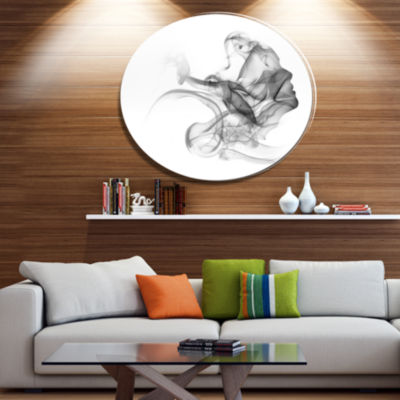 Design Art Woman and Smoke Double Exposure Portrait Metal Circle Wall Art