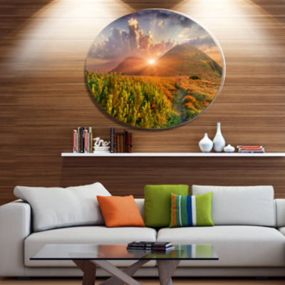 Design Art Colorful Fall Landscape in Mountains Large Landscape Metal Circle Wall Art