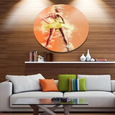 Design Art Beautiful Ballerina in Yellow Tutu Portrait Metal Circle Wall Art