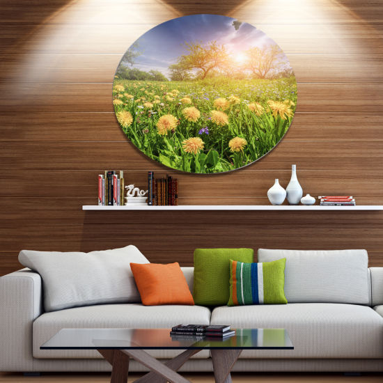 Design Art Blossom Dandelions in Green Garden Large Landscape Metal Circle Wall Art