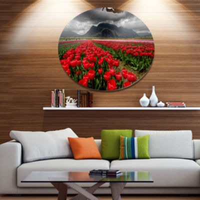 Design Art Rows of Bright Ruby Red Tulips Large Landscape Metal Circle Wall Art