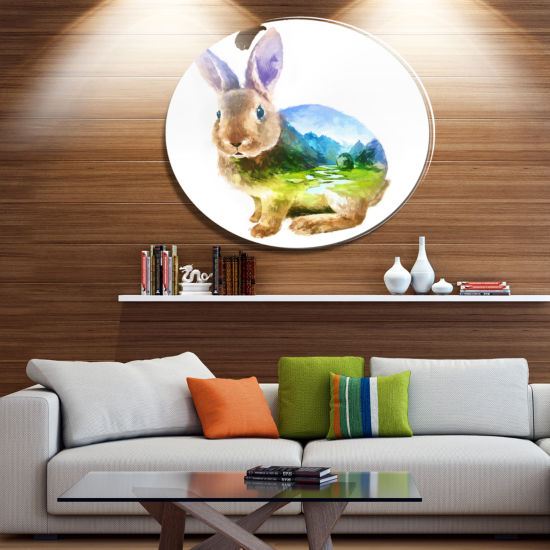 Design Art Rabbit Double Exposure Illustration Large Animal Metal Circle Wall Art