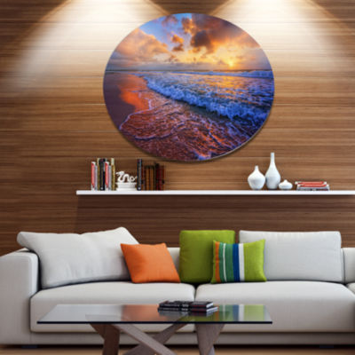 Design Art Beautiful Waves under Cloudy Sky Seashore Metal Circle Wall Art
