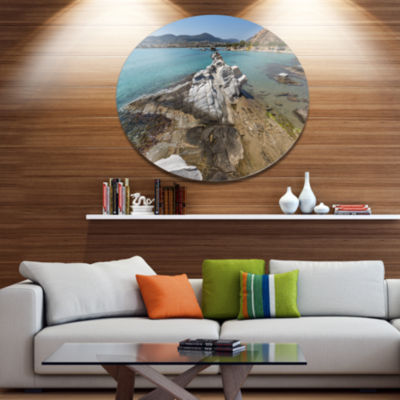 Design Art Clean Waters and Rock Formations LargeLandscape Metal Circle Wall Art