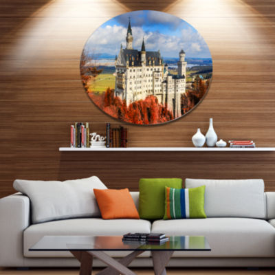 Design Art Neuschwanstein Castle With Red FoliageLarge Landscape Metal Circle Wall Art