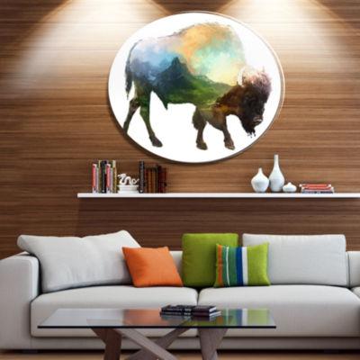 Design Art Bison Double Exposure Illustration Large Animal Metal Circle Wall Art