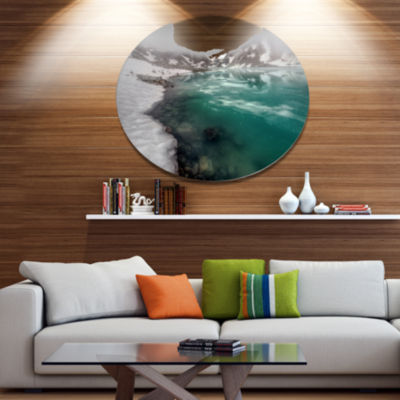 Design Art Lake With Icy Topped Mountains Extra Large Landscape Metal Circle Wall Art