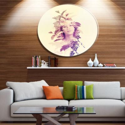 Design Art Woman Portrait with Leaves Portrait Metal Circle Wall Art