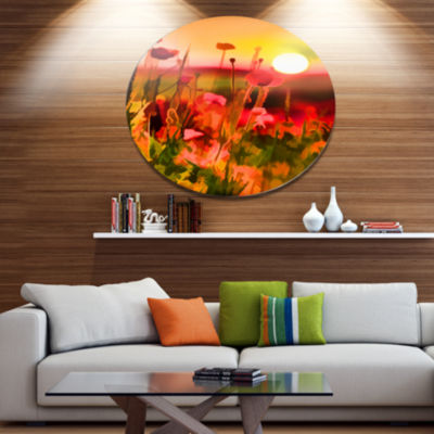 Design Art Summer Sunset with Red Poppies Large Landscape Metal Circle Wall Art