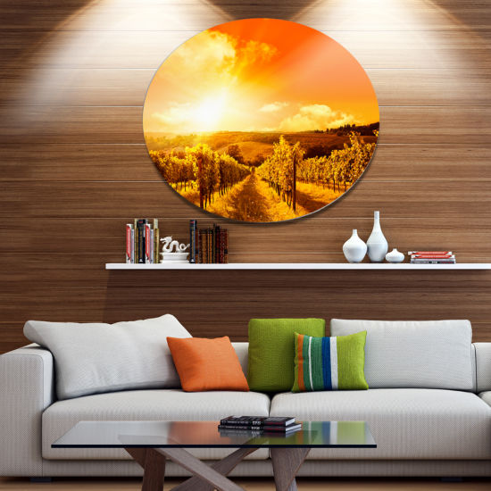 Design Art Scenic Sunset Road in Italy Large Landscape Metal Circle Wall Art