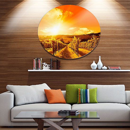 Design Art Scenic Sunset Road in Italy Large Landscape Metal Circle ...