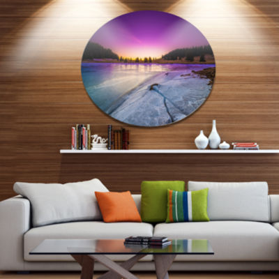 Design Art Sunrise over Frozen Lake Landscape Metal Circle Wall Art