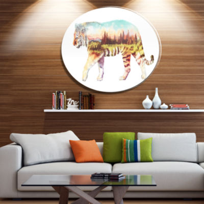 Design Art Tiger Double Exposure Illustration Large Animal Metal Circle Wall Art