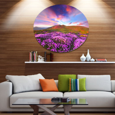 Design Art Magic Pink Rhododendron Flowers Large Landscape Metal Circle Wall Art