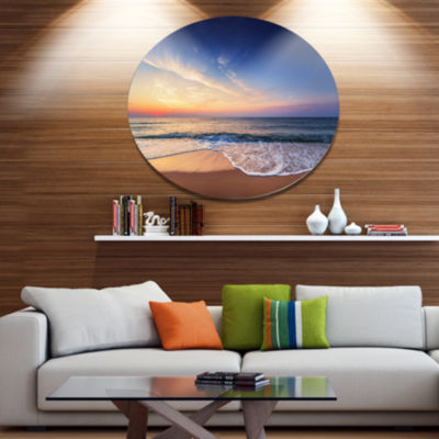 Design Art Beautiful Blue Cloudscape Over Sea Seashore Metal Circle Wall Art