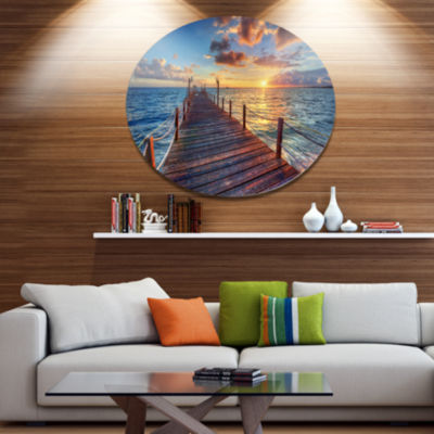 Design Art Beautiful Sunset over Sea Pier Metal Circle Wall Art
