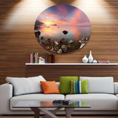 Design Art Colorful Summer Seascape Seashore MetalCircle Wall Art
