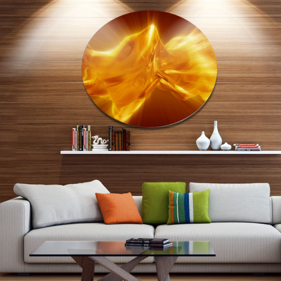 Design Art Plasmas and Liquid With Fiery Shine Abstract Metal Circle Wall Art Print