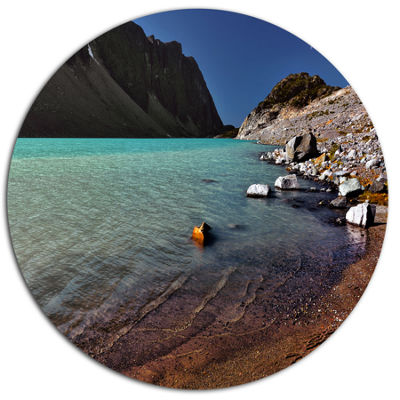 Design Art Bright Blue Waters of Mountain Lake Landscape Metal Circle Wall Art