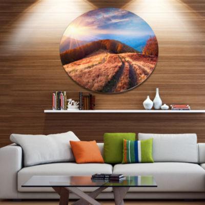 Design Art Beautiful Carpathian Mountains Landscape Metal Circle Wall Art