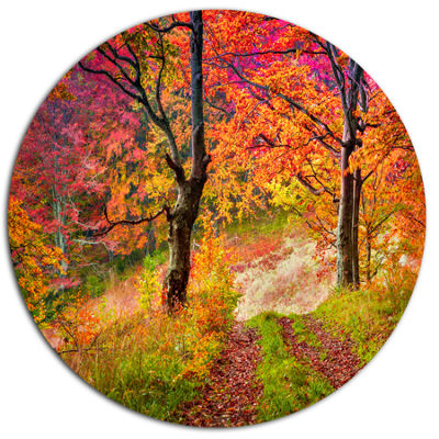 Design Art Bright Colorful Fall Trees in Forest Large Landscape Metal Circle Wall Art