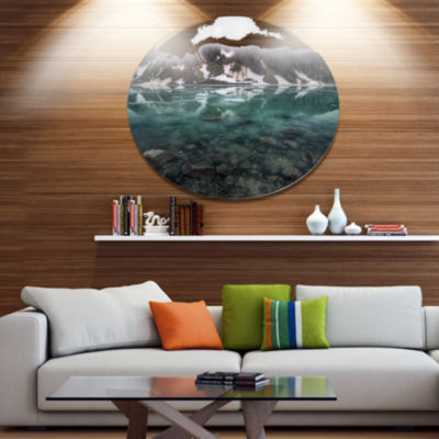 Design Art Beautiful Turquoise Mountain Lake LargeLandscape Metal Circle Wall Art