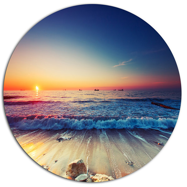 Design Art Beautiful Sunrise over Blue Sea Seashore Metal Circle Wall Art