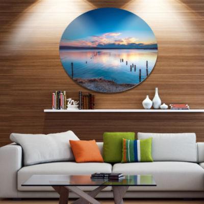 Design Art Bright Blue Sky and Blue Waters Seashore Metal Circle Wall Art