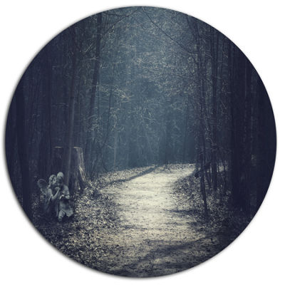 Design Art Dark Forest With Empty Road Forest Metal Circle Wall Art