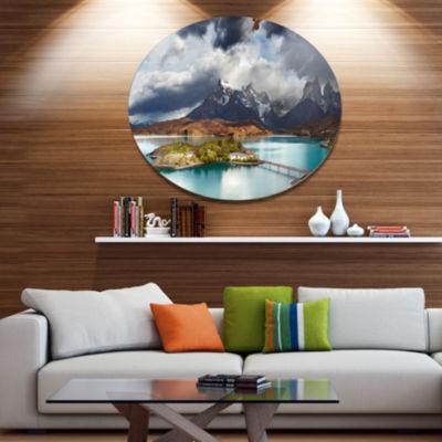Design Art Torres Del Paine Lake Pehoe Large Seashore Metal Circle Wall Art