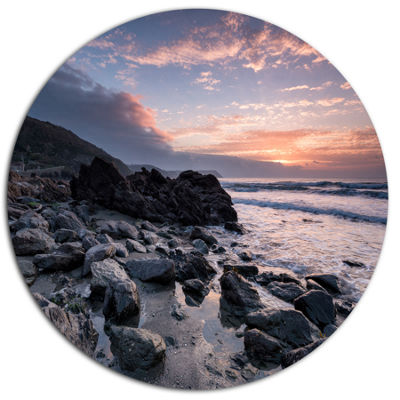Design Art Sunrise at Rocky Portholland Beach Seashore Metal Circle Wall Art