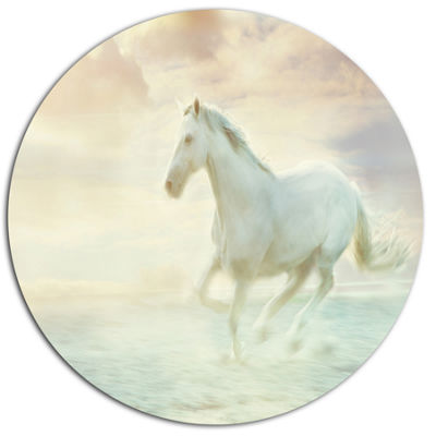 Design Art Fantasy White Horse Animal Metal CircleWall Art