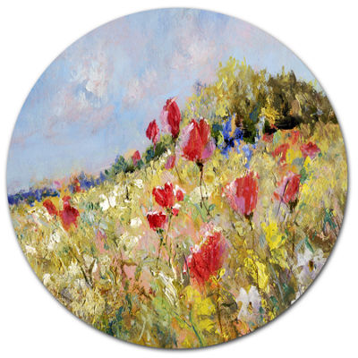 Design Art Painted Poppies on Summer Meadow LargeLandscape Metal Circle Wall Art