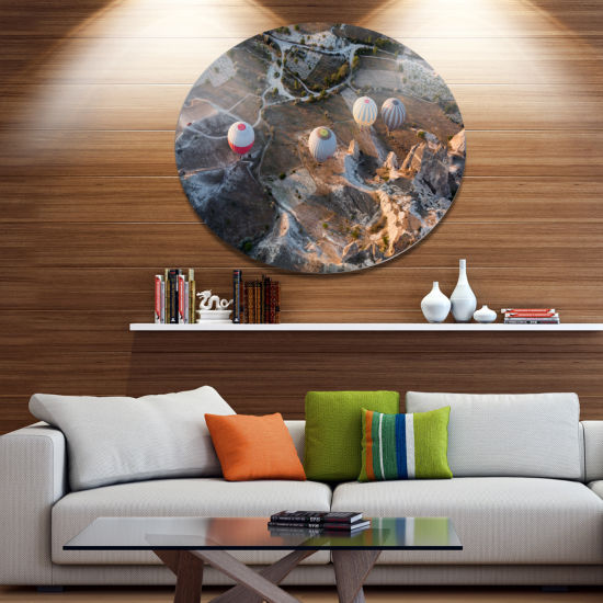 Design Art Flight with Balloons at Sunrise Large Landscape Metal Circle Wall Art