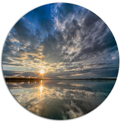 Design Art Sunset with Dramatic Sky and Sea Seashore Metal Circle Wall Art